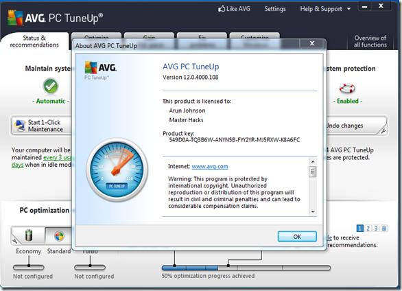 Avg pc tuneup 2015 ключик активации бесплатно